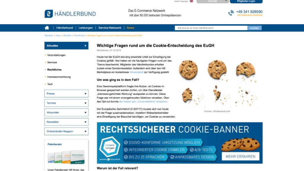 screenshot website haendlerbund zum thema cookie hinweis